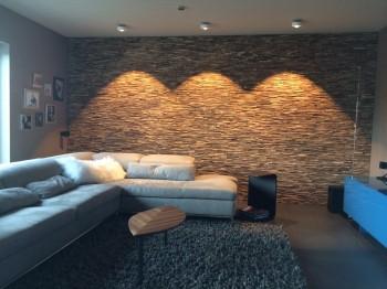 Panele ścienne drewniane w salonie