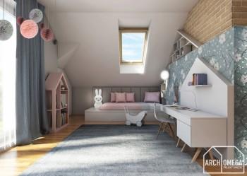 Ściany pikowane w pokoju dziecięcym na poddaszu