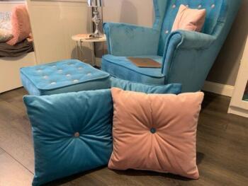 Fotel tapicerowany niebieski - Cocodeco Katowice