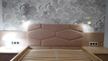 Łóżko tapicerowane z panelami - Cocodeco Tychy