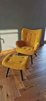 Żółty fotel tapicerowany - Cocodeco Tychy