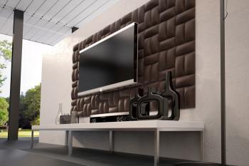 Panele ścienne tapicerowane w salonie za telewizorem